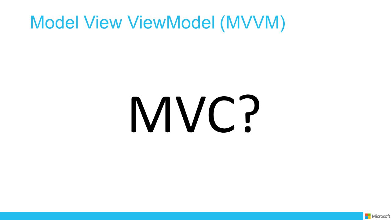 Model View ViewModel (MVVM) MVC