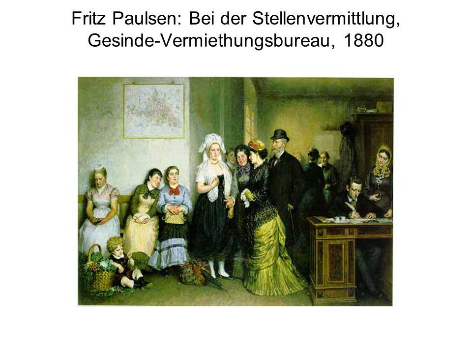 Fritz Paulsen: Bei der Stellenvermittlung, Gesinde-Vermiethungsbureau, 1880