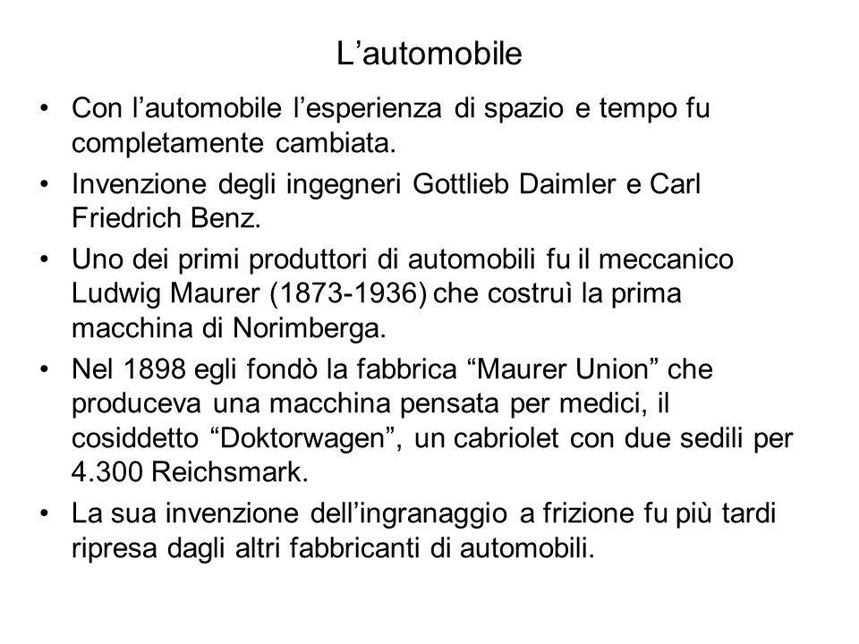 L'automobile Con l'automobile l'esperienza di spazio e tempo fu completamente cambiata.