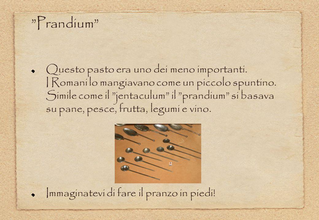 """Questo pasto era uno dei meno importanti. I Romani lo mangiavano come un piccolo spuntino. Simile come il """"jentaculum"""" il """"prandium"""" si basava su pane"""