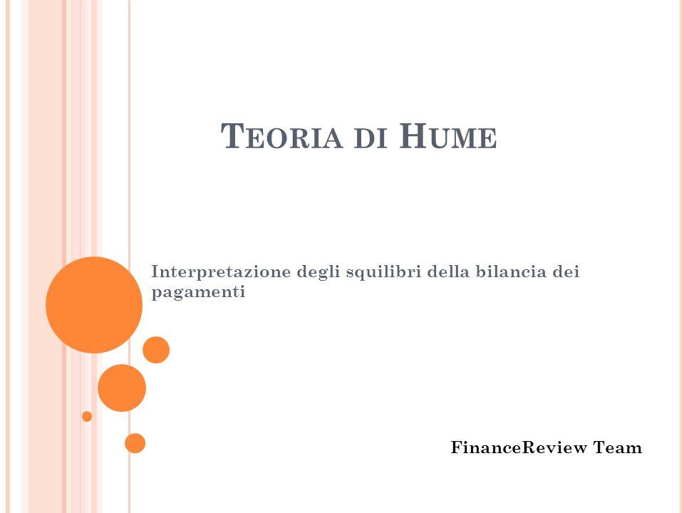 T EORIA DI H UME Interpretazione degli squilibri della bilancia dei pagamenti FinanceReview Team