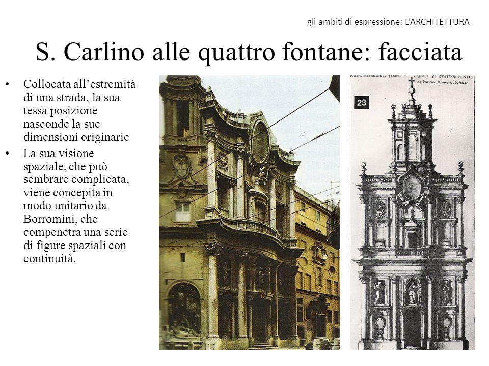 S. Carlino alle quattro fontane: facciata Collocata all'estremità di una strada, la sua tessa posizione nasconde la sue dimensioni originarie La sua v