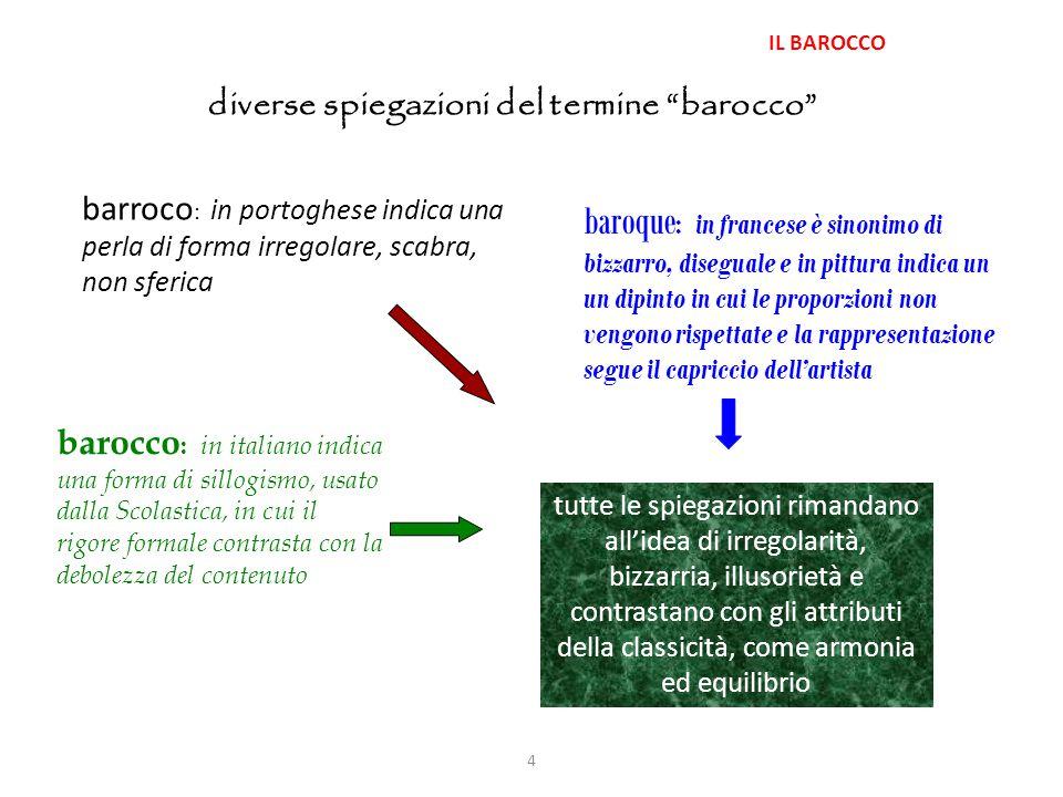 """4 IL BAROCCO diverse spiegazioni del termine """"barocco"""" barroco : in portoghese indica una perla di forma irregolare, scabra, non sferica baroque : in"""