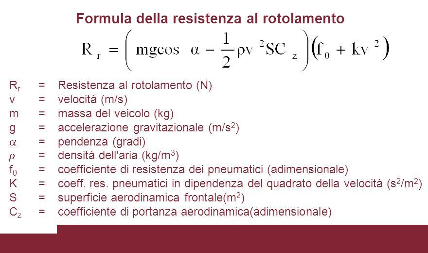 R r =Resistenza al rotolamento (N) v =velocità (m/s) m=massa del veicolo (kg) g =accelerazione gravitazionale (m/s 2 )  =pendenza (gradi)  =densità dell aria (kg/m 3 ) f 0 =coefficiente di resistenza dei pneumatici (adimensionale) K =coeff.