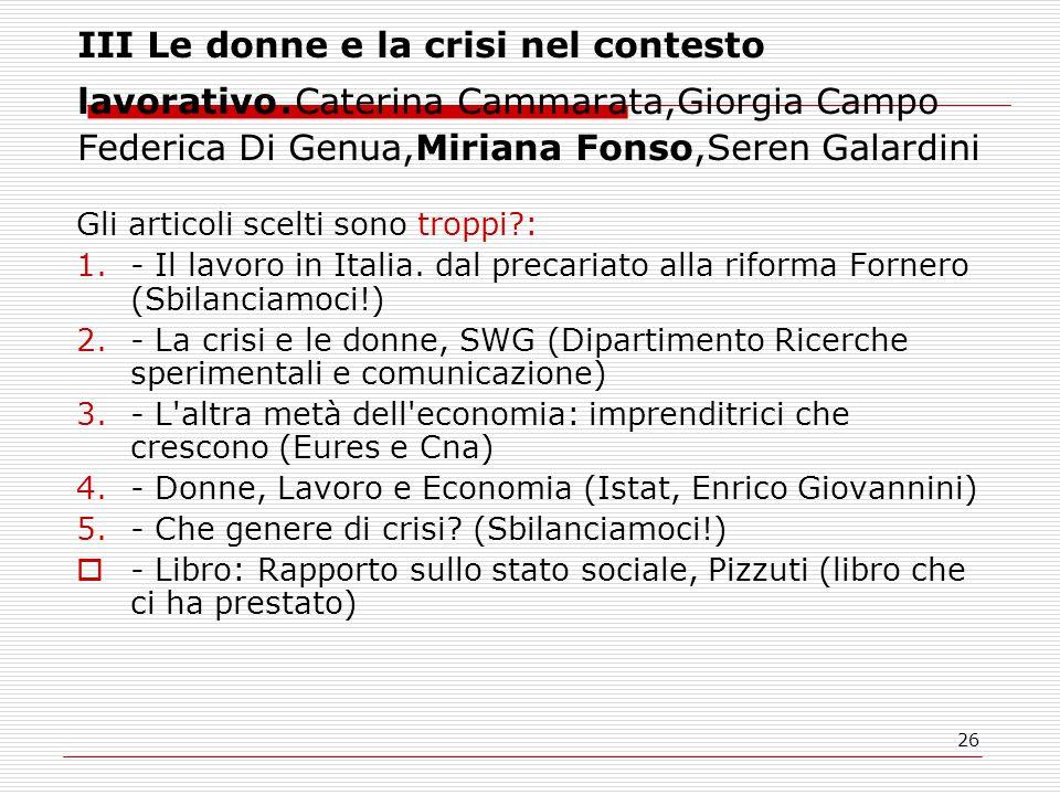26 III Le donne e la crisi nel contesto lavorativo.