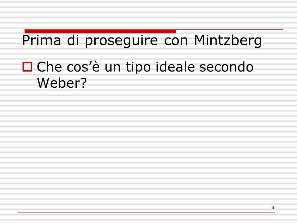 4 Prima di proseguire con Mintzberg  Che cos'è un tipo ideale secondo Weber