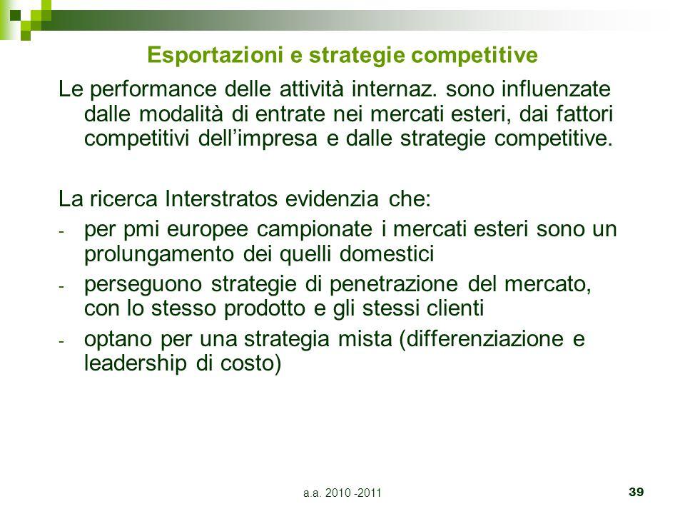 a.a.2010 -201139 Esportazioni e strategie competitive Le performance delle attività internaz.