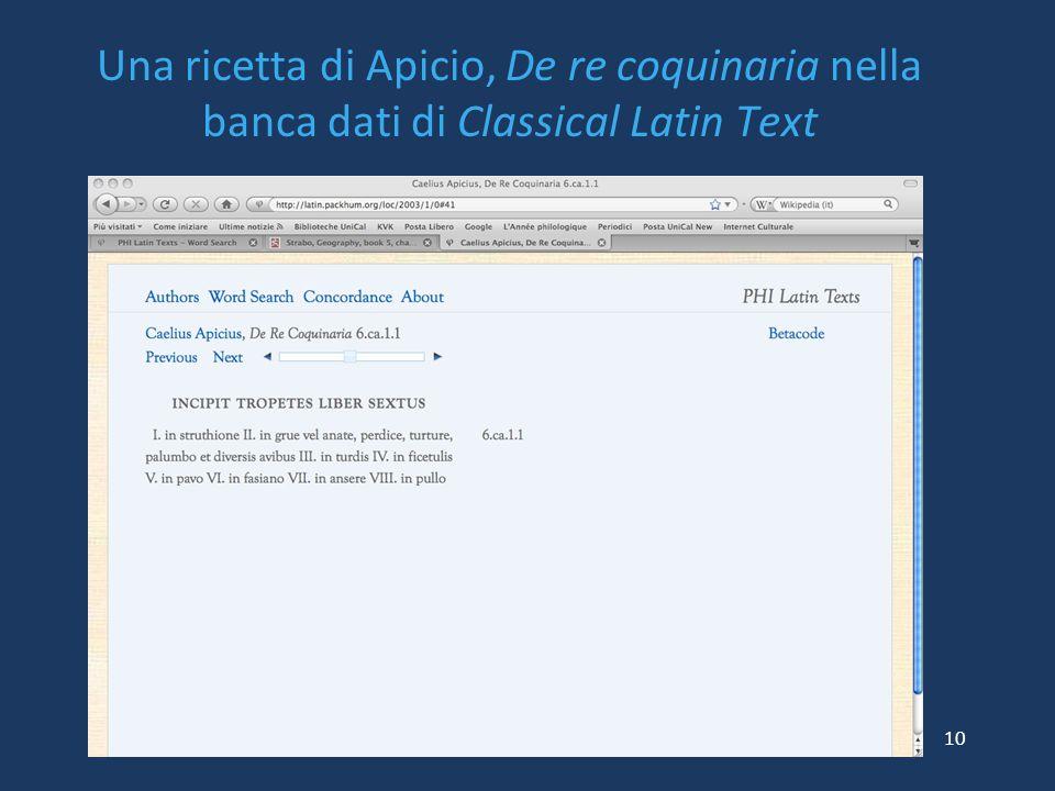 Una ricetta di Apicio, De re coquinaria nella banca dati di Classical Latin Text 10