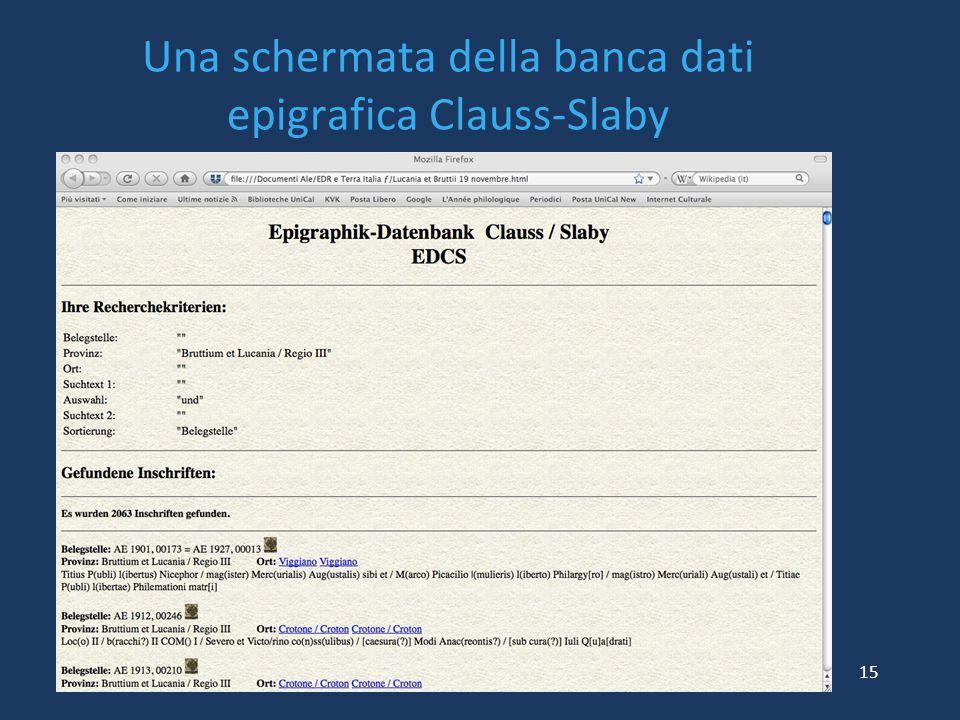Una schermata della banca dati epigrafica Clauss-Slaby 15