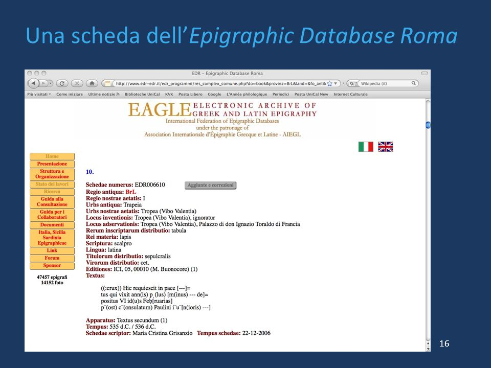 Una scheda dell'Epigraphic Database Roma 16