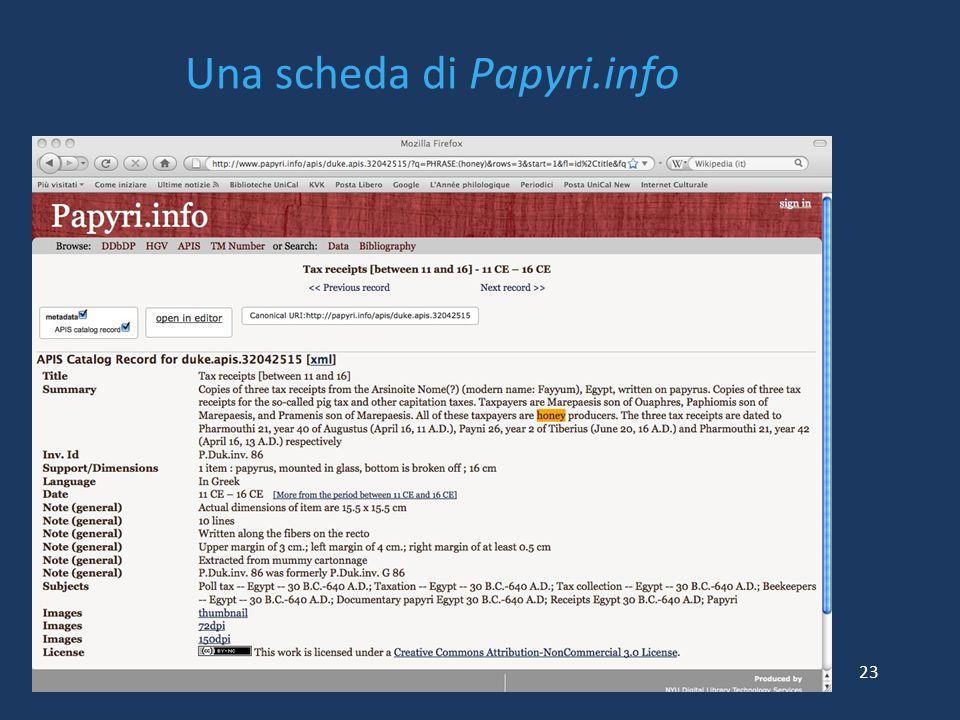 Una scheda di Papyri.info 23
