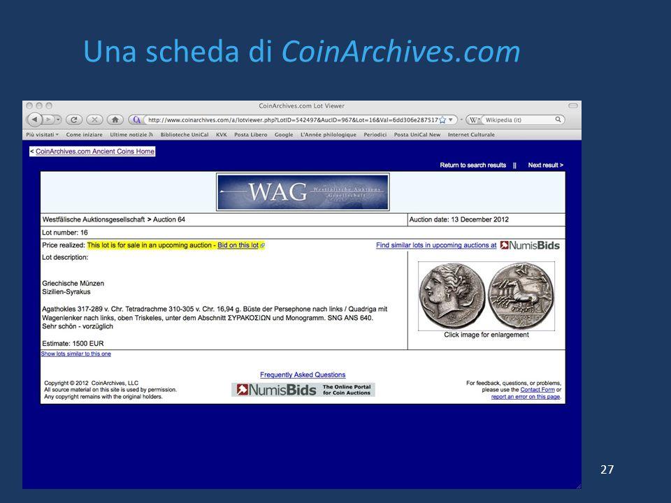 Una scheda di CoinArchives.com 27