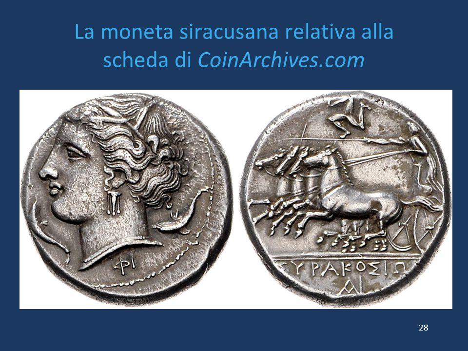 La moneta siracusana relativa alla scheda di CoinArchives.com 28