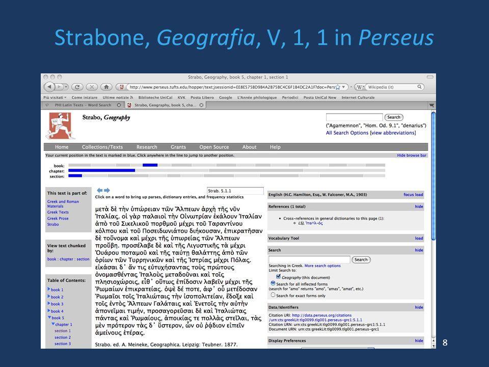 Strabone, Geografia, V, 1, 1 in Perseus 8