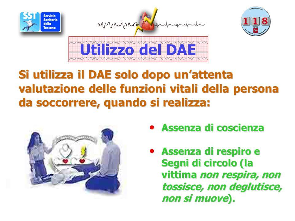 Si utilizza il DAE solo dopo un'attenta valutazione delle funzioni vitali della persona da soccorrere, quando si realizza: Assenza di coscienza Assenz