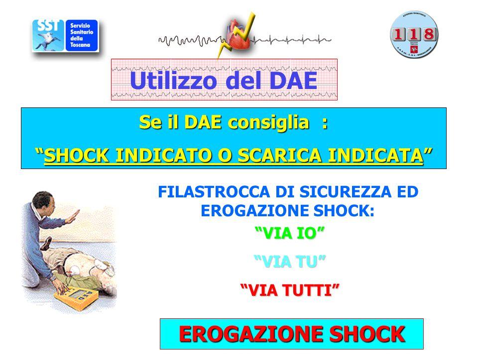 """Se il DAE consiglia : """"SHOCK INDICATO O SCARICA INDICATA"""" FILASTROCCA DI SICUREZZA ED EROGAZIONE SHOCK: """"VIA IO"""" """"VIA TU"""" """"VIA TUTTI"""" EROGAZIONE SHOCK"""