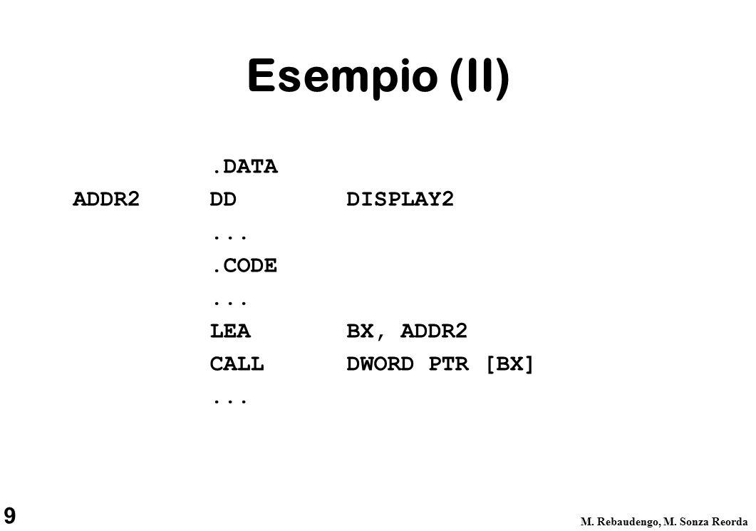 9 M. Rebaudengo, M. Sonza Reorda Esempio (II).DATA ADDR2 DDDISPLAY2....CODE...