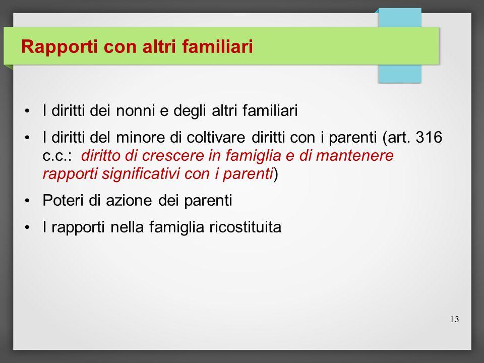 Rapporti con altri familiari I diritti dei nonni e degli altri familiari I diritti del minore di coltivare diritti con i parenti (art. 316 c.c.: dirit