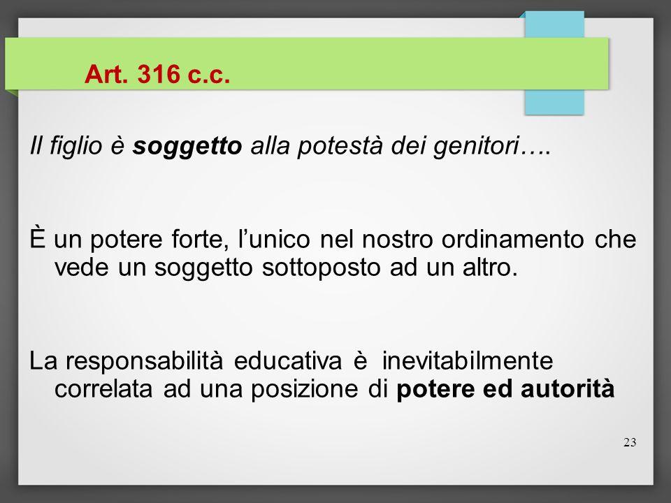 23 Art. 316 c.c. Il figlio è soggetto alla potestà dei genitori…. È un potere forte, l'unico nel nostro ordinamento che vede un soggetto sottoposto ad