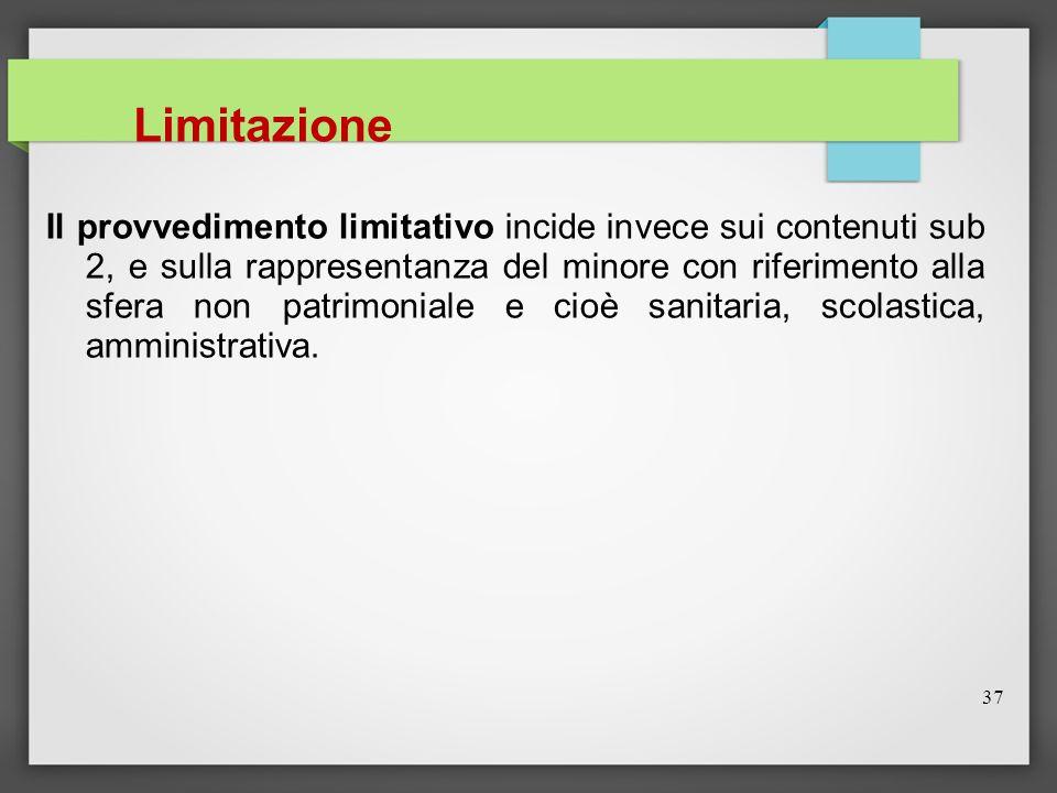 37 Limitazione Il provvedimento limitativo incide invece sui contenuti sub 2, e sulla rappresentanza del minore con riferimento alla sfera non patrimo