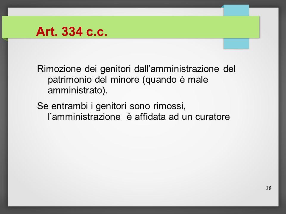 38 Art. 334 c.c. Rimozione dei genitori dall'amministrazione del patrimonio del minore (quando è male amministrato). Se entrambi i genitori sono rimos