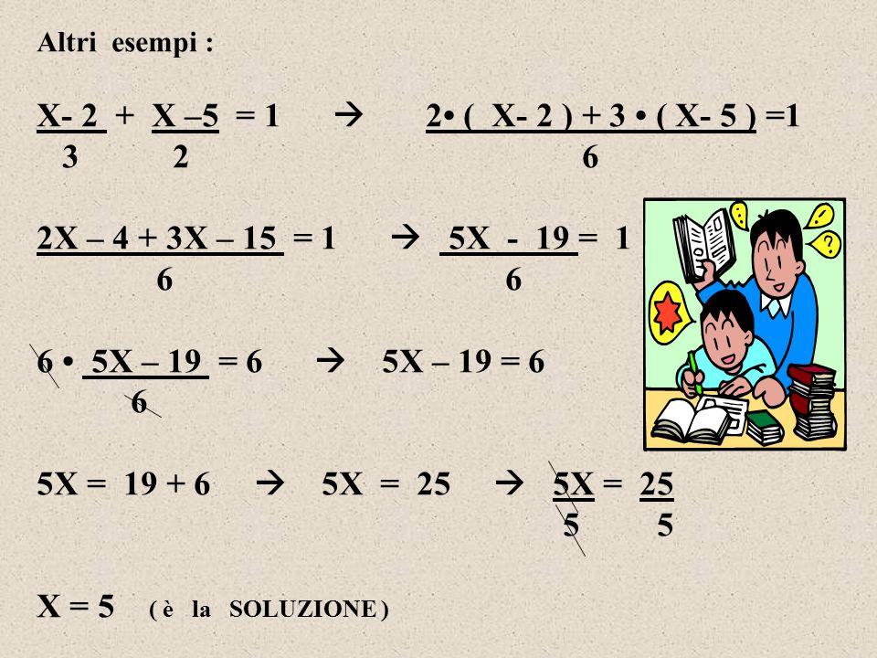 Altri esempi : X- 2 + X –5 = 1  2 ( X- 2 ) + 3 ( X- 5 ) =1 3 2 6 2X – 4 + 3X – 15 = 1  5X - 19 = 1 6 6 6 5X – 19 = 6  5X – 19 = 6 6 5X = 19 + 6  5X = 25  5X = 25 5 X = 5 ( è la SOLUZIONE )