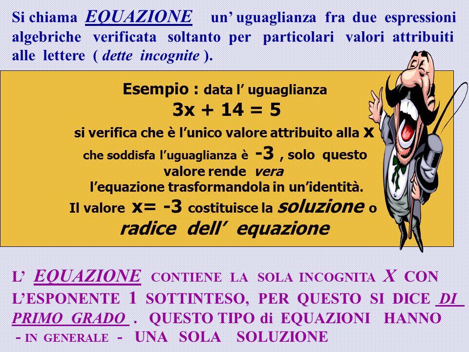 Si chiama EQUAZIONE un' uguaglianza fra due espressioni algebriche verificata soltanto per particolari valori attribuiti alle lettere ( dette incognite ).