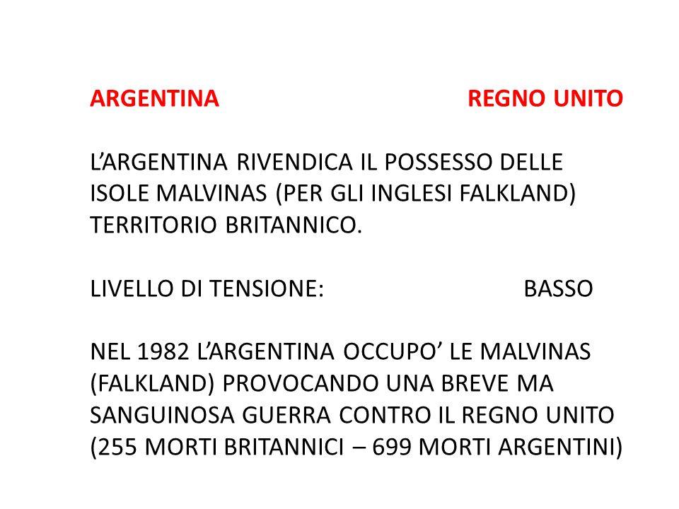 ARGENTINA REGNO UNITO L'ARGENTINA RIVENDICA IL POSSESSO DELLE ISOLE MALVINAS (PER GLI INGLESI FALKLAND) TERRITORIO BRITANNICO. LIVELLO DI TENSIONE: BA