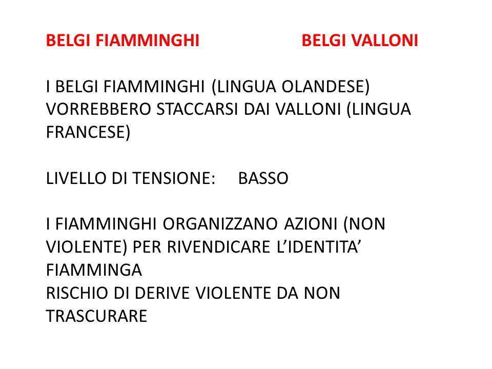 BELGI FIAMMINGHI BELGI VALLONI I BELGI FIAMMINGHI (LINGUA OLANDESE) VORREBBERO STACCARSI DAI VALLONI (LINGUA FRANCESE) LIVELLO DI TENSIONE: BASSO I FI