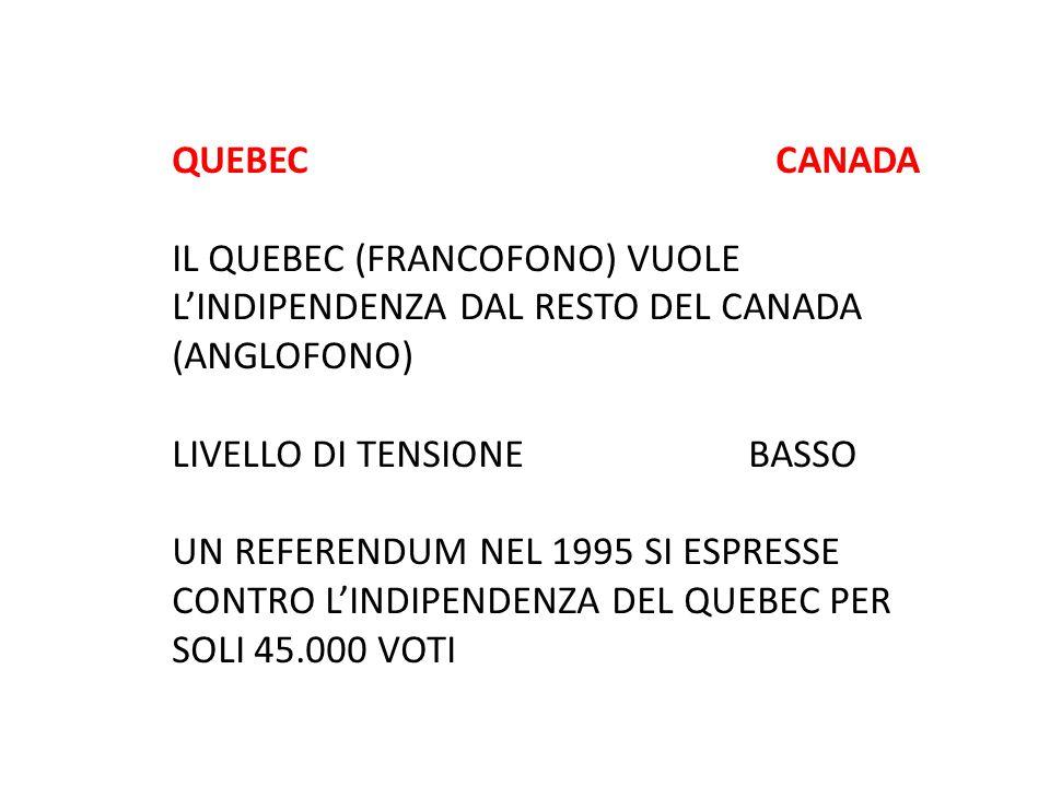 QUEBEC CANADA IL QUEBEC (FRANCOFONO) VUOLE L'INDIPENDENZA DAL RESTO DEL CANADA (ANGLOFONO) LIVELLO DI TENSIONE BASSO UN REFERENDUM NEL 1995 SI ESPRESS