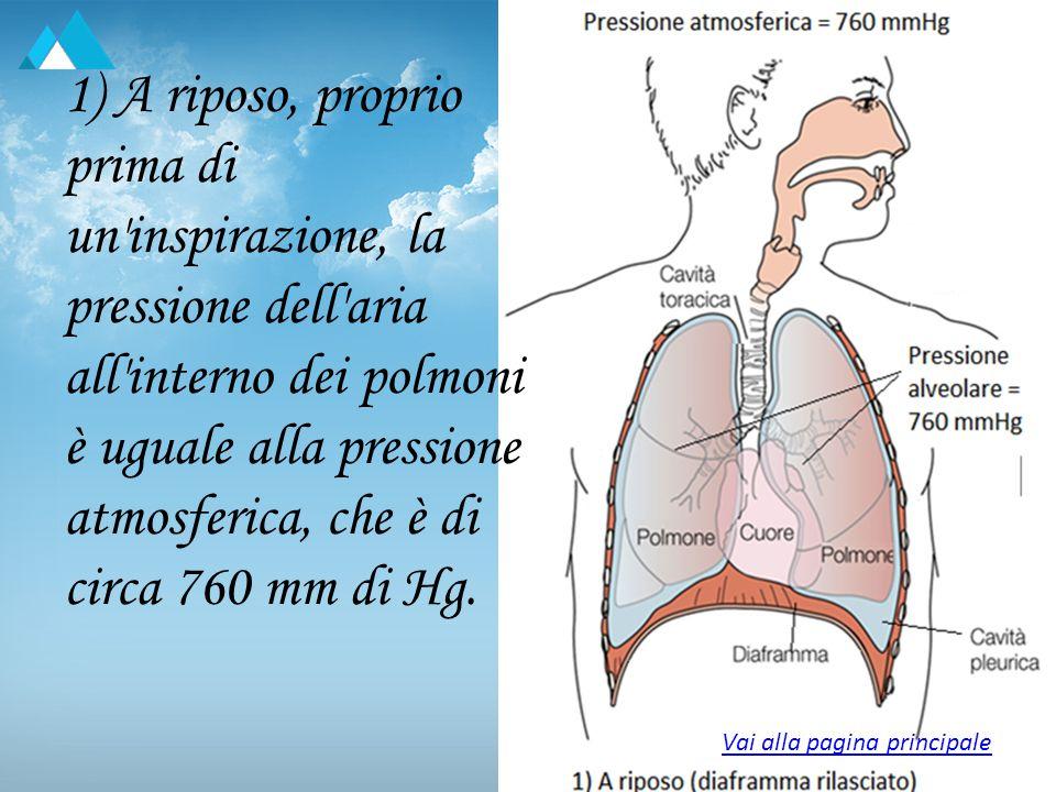 1) A riposo, proprio prima di un'inspirazione, la pressione dell'aria all'interno dei polmoni è uguale alla pressione atmosferica, che è di circa 760