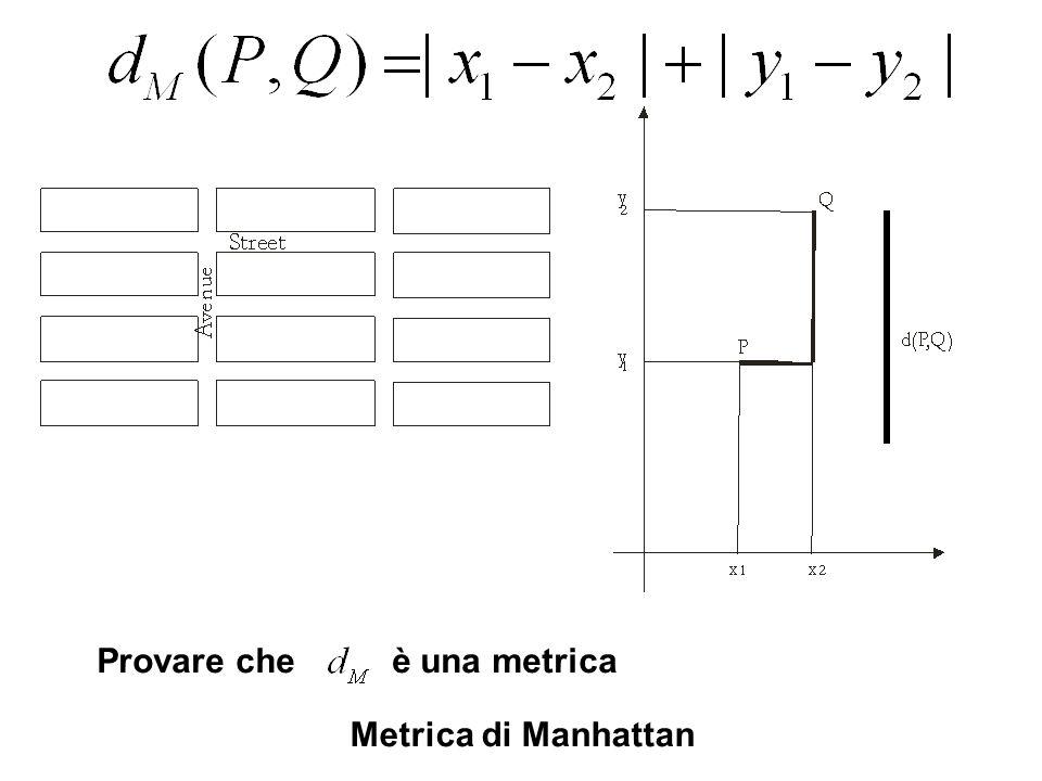 Metrica di Manhattan Provare che è una metrica