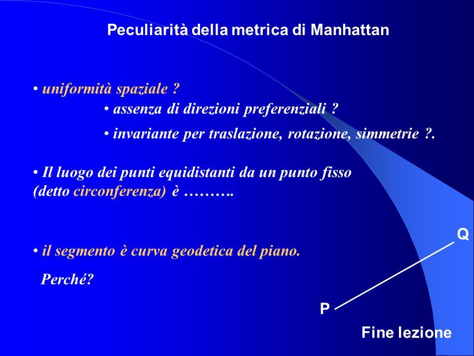 P Q Peculiarità della metrica di Manhattan assenza di direzioni preferenziali .