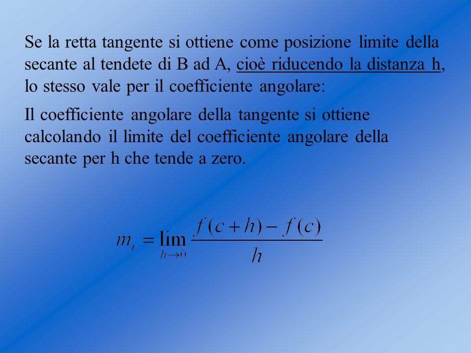 Se la retta tangente si ottiene come posizione limite della secante al tendete di B ad A, cioè riducendo la distanza h, lo stesso vale per il coeffici