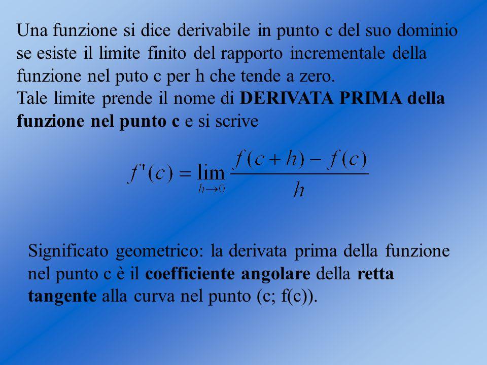 Una funzione si dice derivabile in punto c del suo dominio se esiste il limite finito del rapporto incrementale della funzione nel puto c per h che te