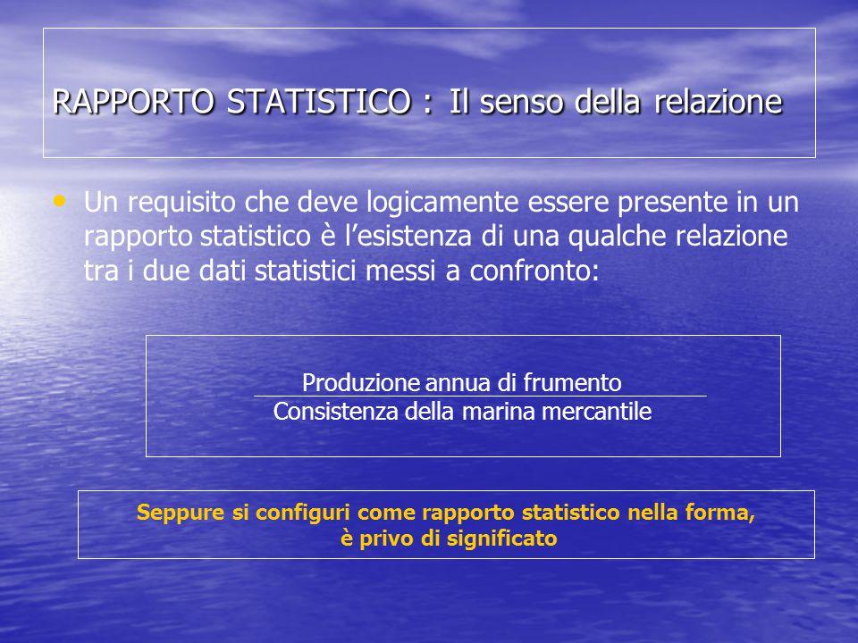 RAPPORTO STATISTICO : Il senso della relazione Un requisito che deve logicamente essere presente in un rapporto statistico è l'esistenza di una qualch