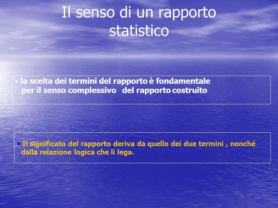 Il senso di un rapporto statistico la scelta dei termini del rapporto è fondamentale per il senso complessivo del rapporto costruito Il significato de