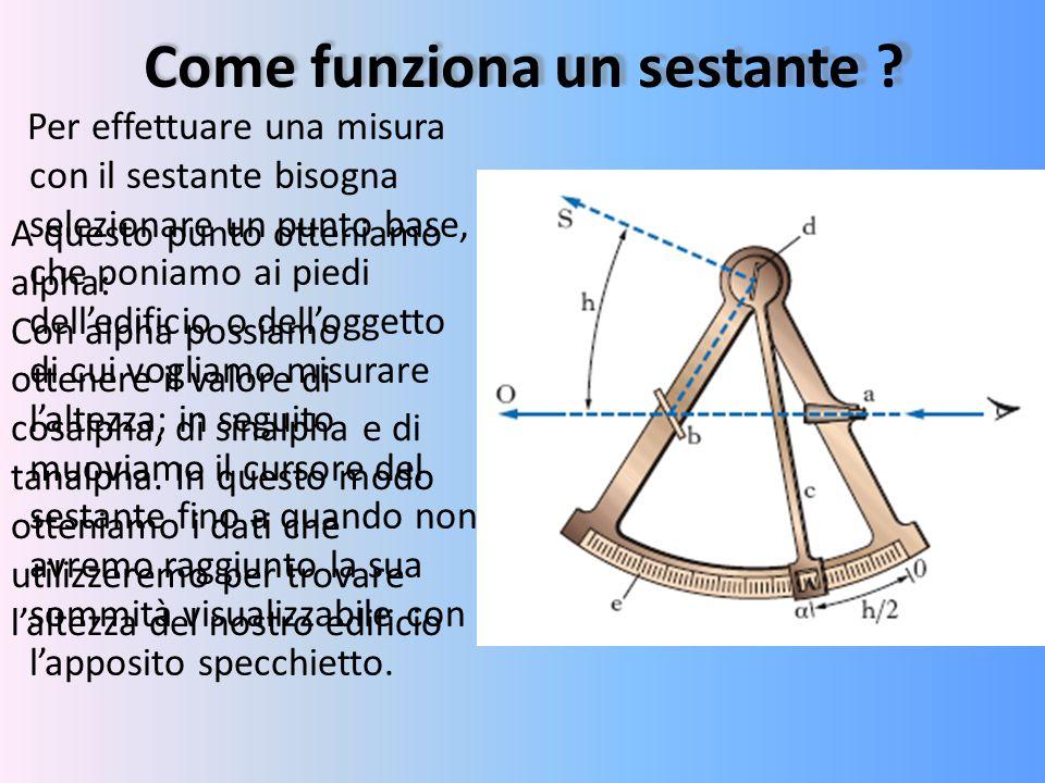 Come funziona un sestante ? Per effettuare una misura con il sestante bisogna selezionare un punto base, che poniamo ai piedi dell'edificio o dell'ogg
