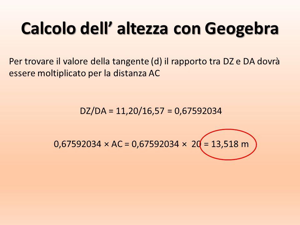 Calcolo dell' altezza con Geogebra Per trovare il valore della tangente (d) il rapporto tra DZ e DA dovrà essere moltiplicato per la distanza AC DZ/DA