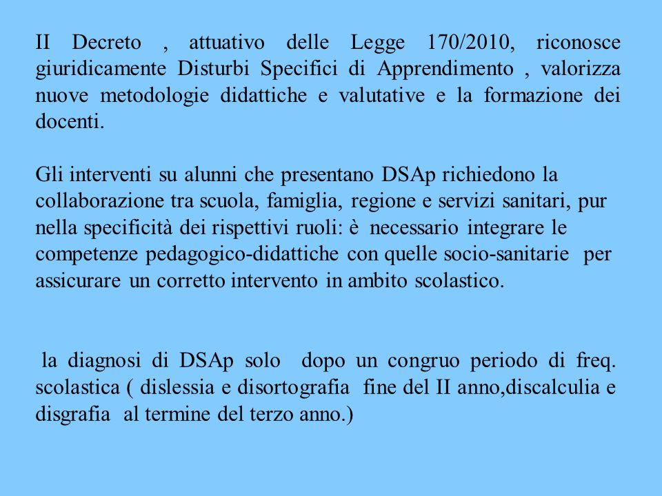 la diagnosi di DSAp solo dopo un congruo periodo di freq. scolastica ( dislessia e disortografia fine del II anno,discalculia e disgrafia al termine d