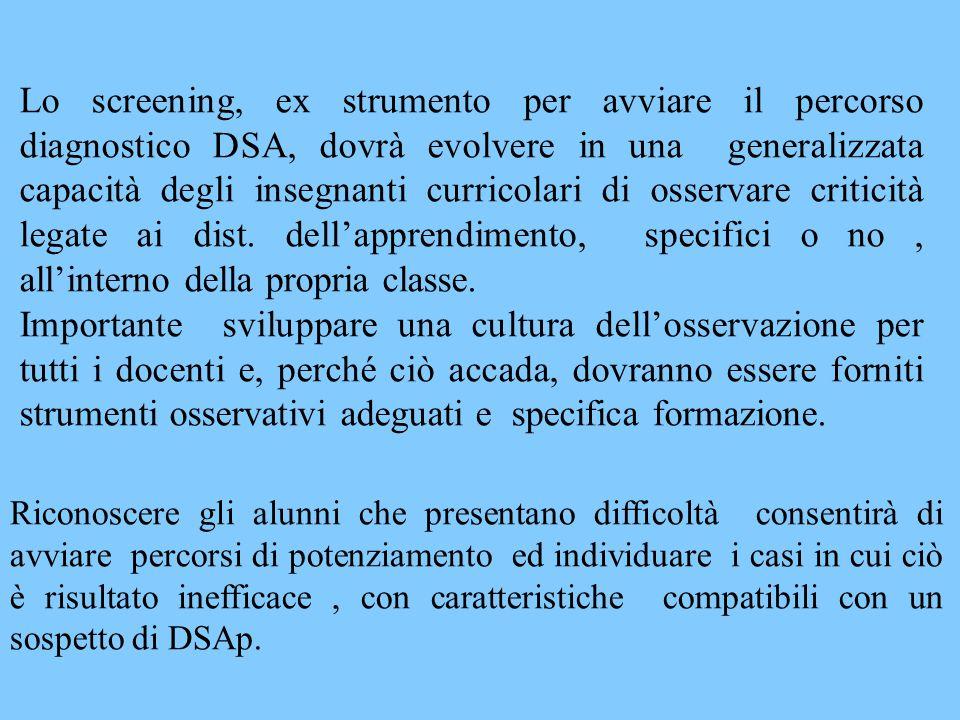 Lo screening, ex strumento per avviare il percorso diagnostico DSA, dovrà evolvere in una generalizzata capacità degli insegnanti curricolari di osservare criticità legate ai dist.