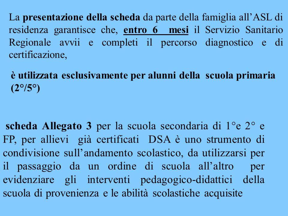 La presentazione della scheda da parte della famiglia all'ASL di residenza garantisce che, entro 6 mesi il Servizio Sanitario Regionale avvii e comple