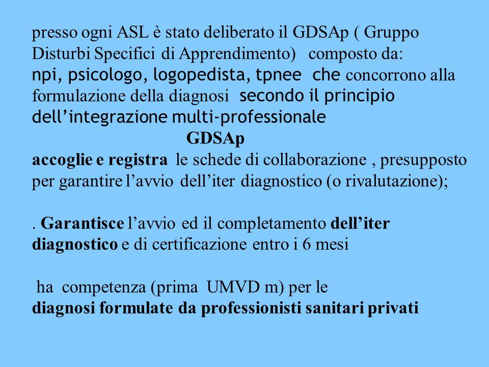 presso ogni ASL è stato deliberato il GDSAp ( Gruppo Disturbi Specifici di Apprendimento) composto da: npi, psicologo, logopedista, tpnee che concorrono alla formulazione della diagnosi secondo il principio dell'integrazione multi-professionale GDSAp accoglie e registra le schede di collaborazione, presupposto per garantire l'avvio dell'iter diagnostico (o rivalutazione);.