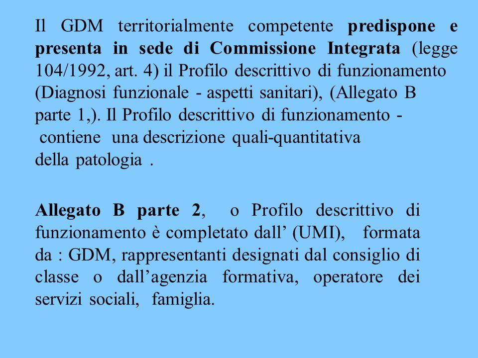 Il GDM territorialmente competente predispone e presenta in sede di Commissione Integrata (legge 104/1992, art. 4) il Profilo descrittivo di funzionam