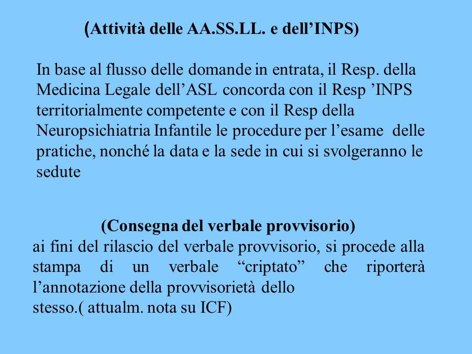 ( Attività delle AA.SS.LL. e dell'INPS) In base al flusso delle domande in entrata, il Resp. della Medicina Legale dell'ASL concorda con il Resp 'INPS