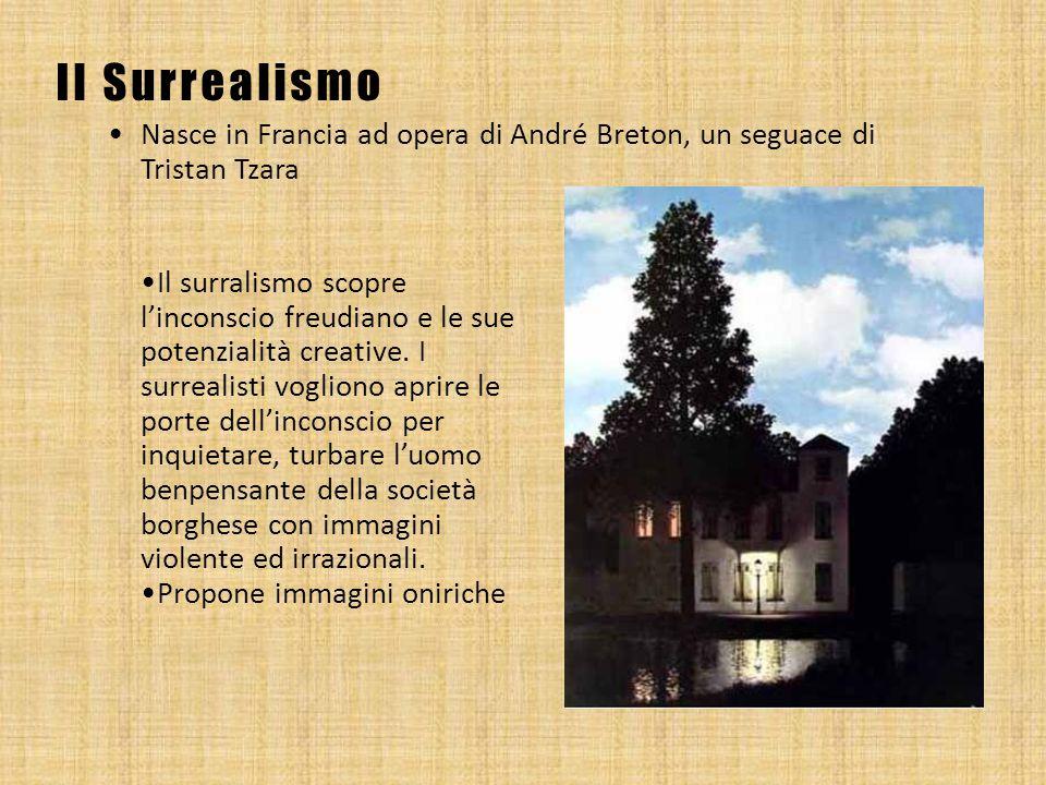Il Surrealismo Nasce in Francia ad opera di André Breton, un seguace di Tristan Tzara Il surralismo scopre l'inconscio freudiano e le sue potenzialità