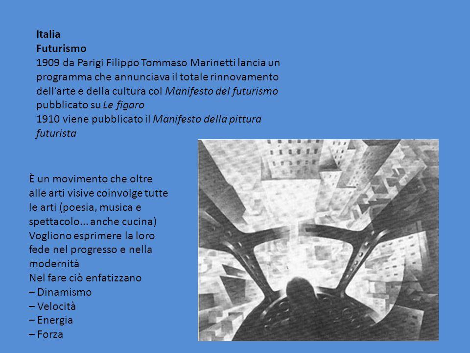 Italia Futurismo 1909 da Parigi Filippo Tommaso Marinetti lancia un programma che annunciava il totale rinnovamento dell'arte e della cultura col Mani