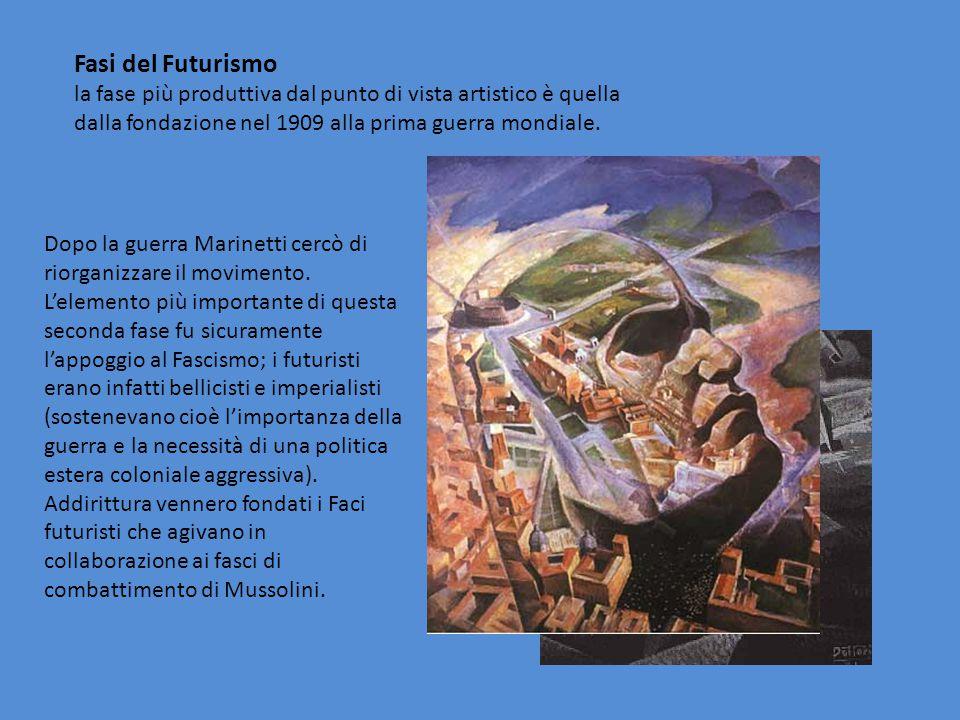 Fasi del Futurismo la fase più produttiva dal punto di vista artistico è quella dalla fondazione nel 1909 alla prima guerra mondiale. Dopo la guerra M