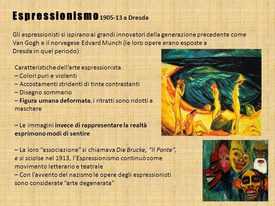 Espressionismo 1905-13 a Dresda Gli espressionisti si ispirano ai grandi innovatori della generazione precedente come Van Gogh e il norvegese Edvard M