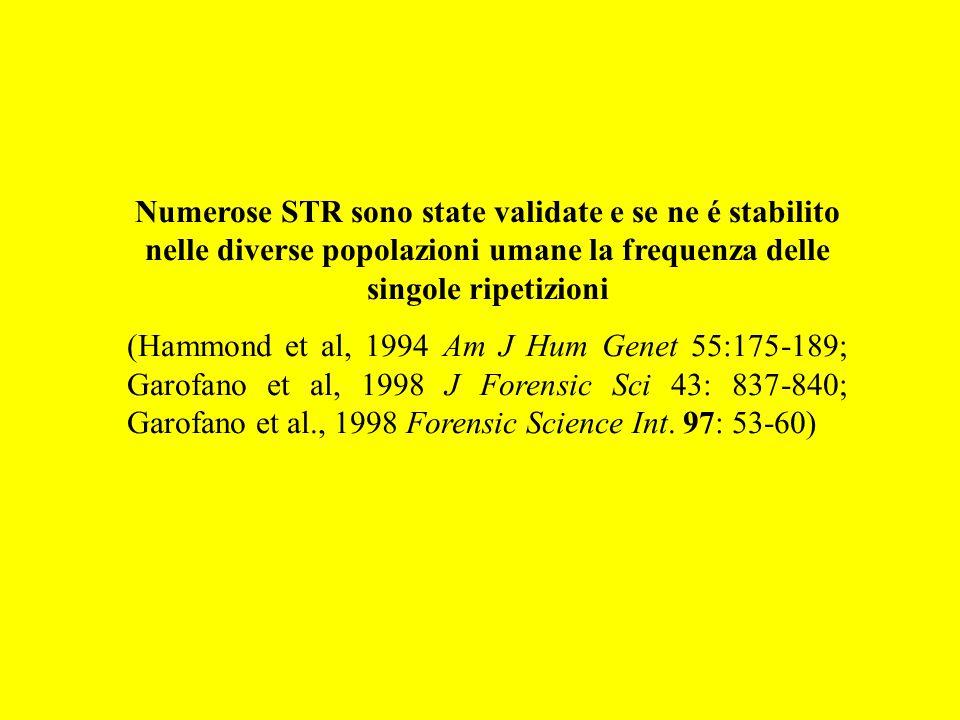 Numerose STR sono state validate e se ne é stabilito nelle diverse popolazioni umane la frequenza delle singole ripetizioni (Hammond et al, 1994 Am J
